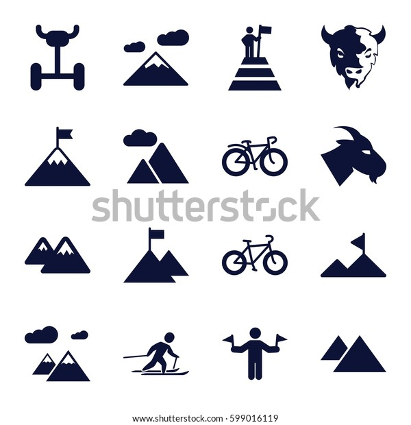 mountain icons set. Set of 16 mountain filled icons such as goat, man with flags, bicycle, skiing
