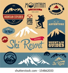 Mountain icons set. Mountain climbing. Climber. Ski Resort labels collection.