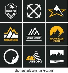 Mountain icons set. Mountain climbing. Climber. Ski Resort labels.