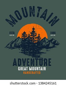 Mountain illustration, outdoor adventure . Vector graphic for t shirt and other uses. - Vektör