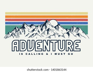 Mountain illustration, outdoor adventure . Vector graphic for t shirt and other uses. - Shutterstock ID 1401863144