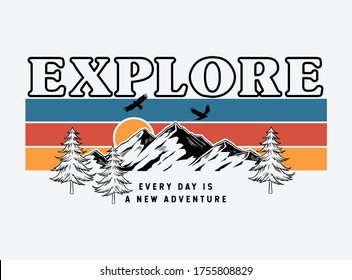 Mountain illustration, outdoor adventure . Vector graphics for t shirt  prints, posters and other uses.