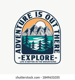 Mountain illustration, outdoor adventure. Vector badge design for t-shirt prints, posters, and other uses. - Shutterstock ID 1849631035