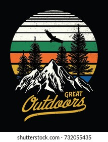 Mountain illustration, outdoor adventure . Vector graphic for t shirt and other uses.
