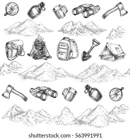 mountain and items for camping seamless pattern