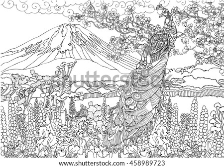 cacl2 solution coloring pages | Mountain Japan Fujiyama Landscape Coloring Pages Stock ...