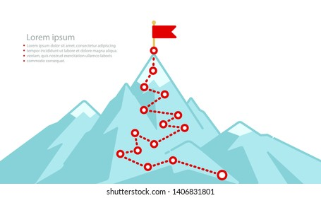 Mountain journey route with red flag to peak - Business career success concept. Mountain climbing path top goal growth plan journey to success. Minimalistic flat line web banner. Vector illustration