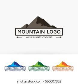 Mountain, label, outdoor, camping, wildlife, sport, climb. Vector logo template