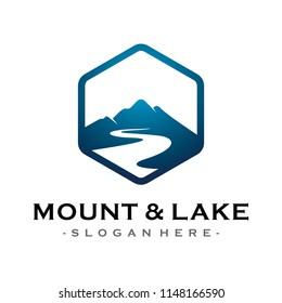 Mountain and Lake Adventure Traveling logo design inspiration Vector