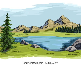 Mountain lake graphic art color landscape illustration vector