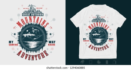 Mountain lake. Great Outdoor print for t-shirts and another, trendy apparel design. Mystical symbol of tourism, camping, travel