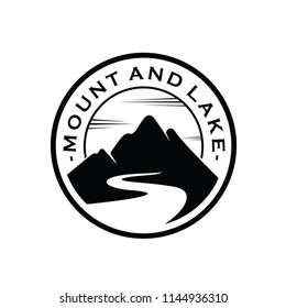 Mountain, Lake and Hill Hipster Adventure Traveling logo design inspiration Vector