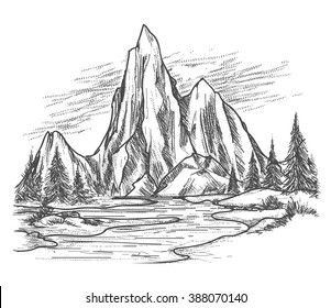 Mountain lake landscape. Hand drawn view with forest pine trees. Vector illustration