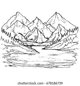 Mountain lake landscape. Hand drawn view with forest pine trees. Vector illustration.