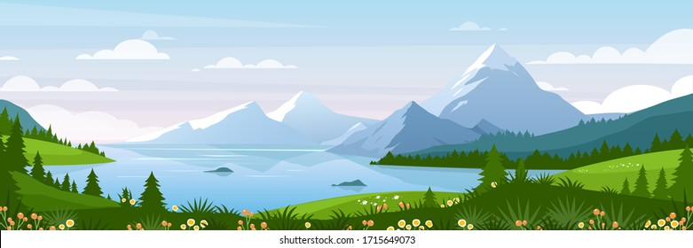 Mountain lake landscape vector illustration. Cartoon flat panorama of spring summer beautiful nature, green grasslands meadow with flowers, forest, scenic blue lake and mountains on horizon background