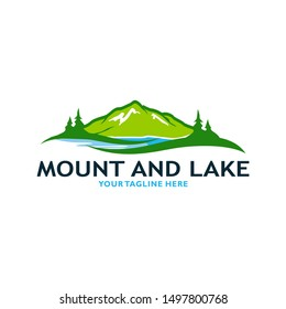 Mountain Lake Logo Nature Landscape Stock Vector