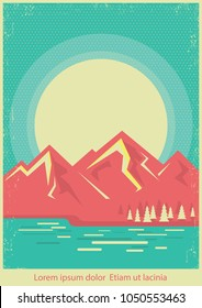 Mountain lake nature landscape on retro poster background for text