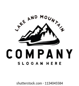 Mountain, Lake and Pine  for Hipster Adventure Traveling logo design inspiration Vector