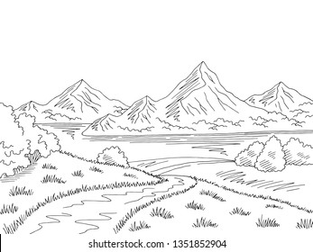 Mountain lake road graphic black white landscape sketch illustration vector