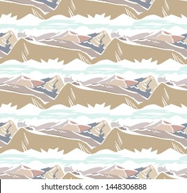 mountain landscape abstract outdoor seamless pattern soft color vector