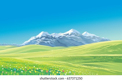 Mountain landscape with alpine meadows, vector illustration.