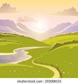 Mountain landscape background with river road and meadow flat vector illustration