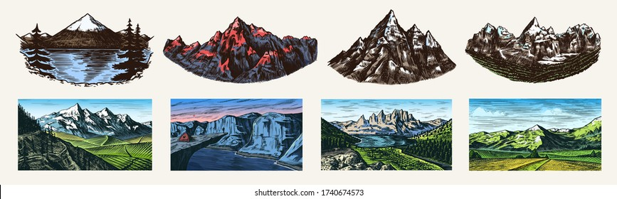 Mountain landscape backgrounds set. Alpine peaks. Vintage Mount. Travel concept. Hand drawn engraved sketch for outdoor posters, climbing banners, logo or badge.  - Shutterstock ID 1740674573