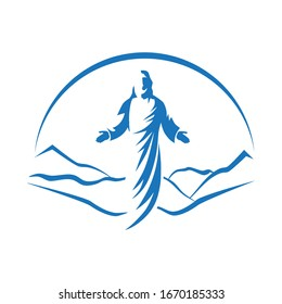 Mountain landscape in behind of Jesus Christ, son of God. vector illustration