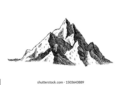 Mountain and landscape black on white background. Hand drawn rocky peaks in sketch style. Vector illustration.