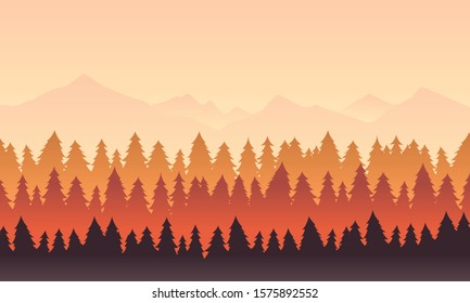 Mountain Landscape with bright colour of sky