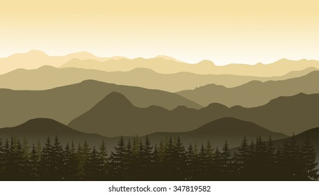 Mountain landscape in brown colors at the morning. Vector illustration.