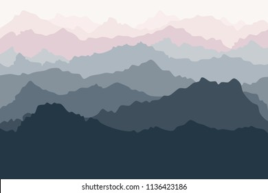 Mountain landscape, China mountains, fog in mountains, children's room design