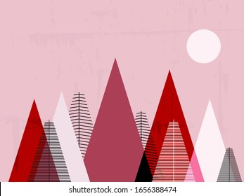 Mountain landscape. Christmas card, children's room decor, scandinavian wallpapers. Vector illustration