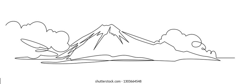 Mountain landscape continuous one line vector drawing. Mount Fuji hand drawn silhouette. Nature, rock panoramic sketch. Fujiyama minimalistic contour illustration. Isolated linear design element