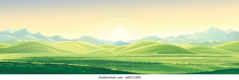 Mountain landscape with a dawn, an elongated format for the convenience of using it as a background.