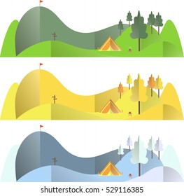 Mountain landscape in different seasons, autumn, summer, winter, travel conception flat design vector illustration