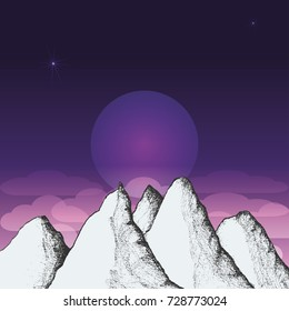 Mountain landscape with an evening sky