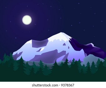 mountain landscape with fir forest in moon light
