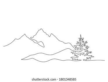Mountain landscape with fir-tree. Continuous one line drawing. Travels. Minimalistic graphics. Vector illustration black on white