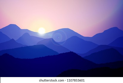 Mountain landscape with flare of the sun rise in panoramic view