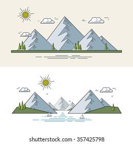 Mountain landscape in the flat linear style. Vector illustration