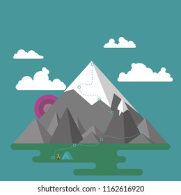 Mountain landscape in a flat style with a bonfire, a tent and a trail going up