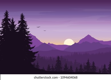 Mountain landscape with forest under a purple morning sky with rising sun, birds and clouds - vector