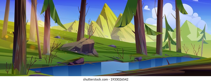 Mountain landscape with forest and water stream. Vector cartoon illustration of summer coniferous woods, brook, rocks and sun in blue sky