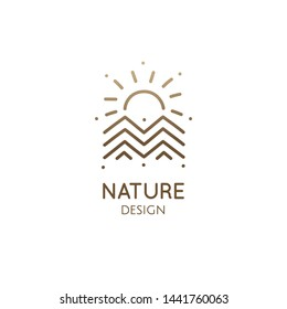 Mountain landscape geometric logo with sun. Rectangular abstract icon of sunset or sunrise. Vector simple emblem, badge for a travel, alternative medicine, ecology concept, spa, health, yoga Center