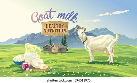 Mountain landscape with goat and set dairy product with village in background.
