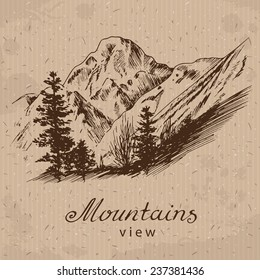 Mountain Landscape.  Hand drawn, vector illustration