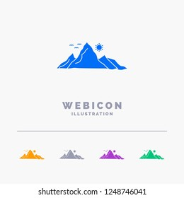 mountain, landscape, hill, nature, sun 5 Color Glyph Web Icon Template isolated on white. Vector illustration