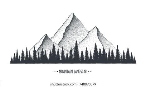 Mountain Landscape illustration. Vector background concept hand drawn sketch.