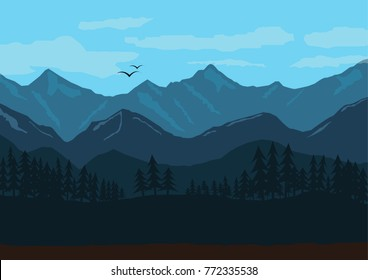 Mountain landscape illustration/Morning in the mountains Vector EPS10 illustration